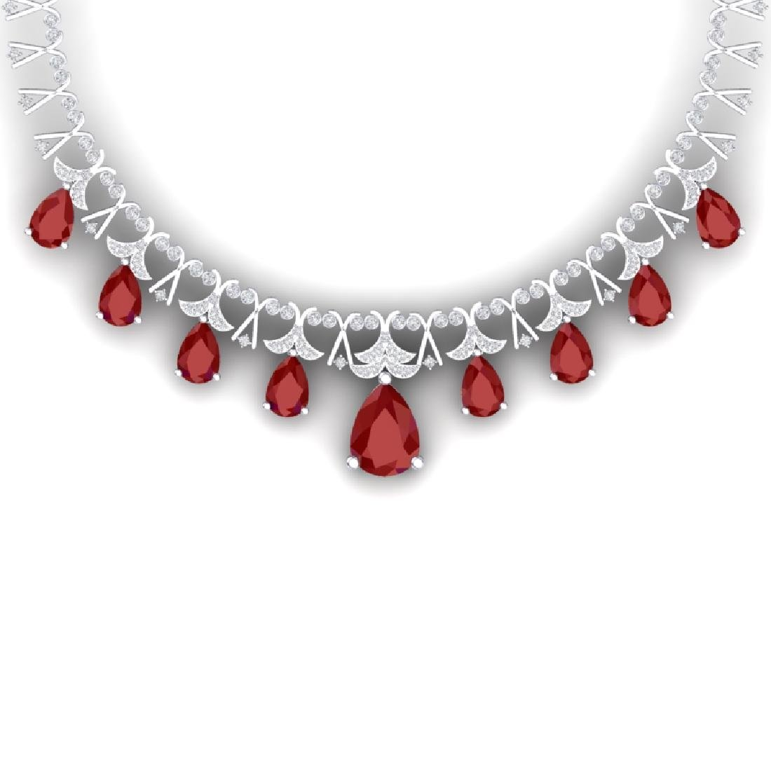 56.94 CTW Royalty Ruby & VS Diamond Necklace 18K White