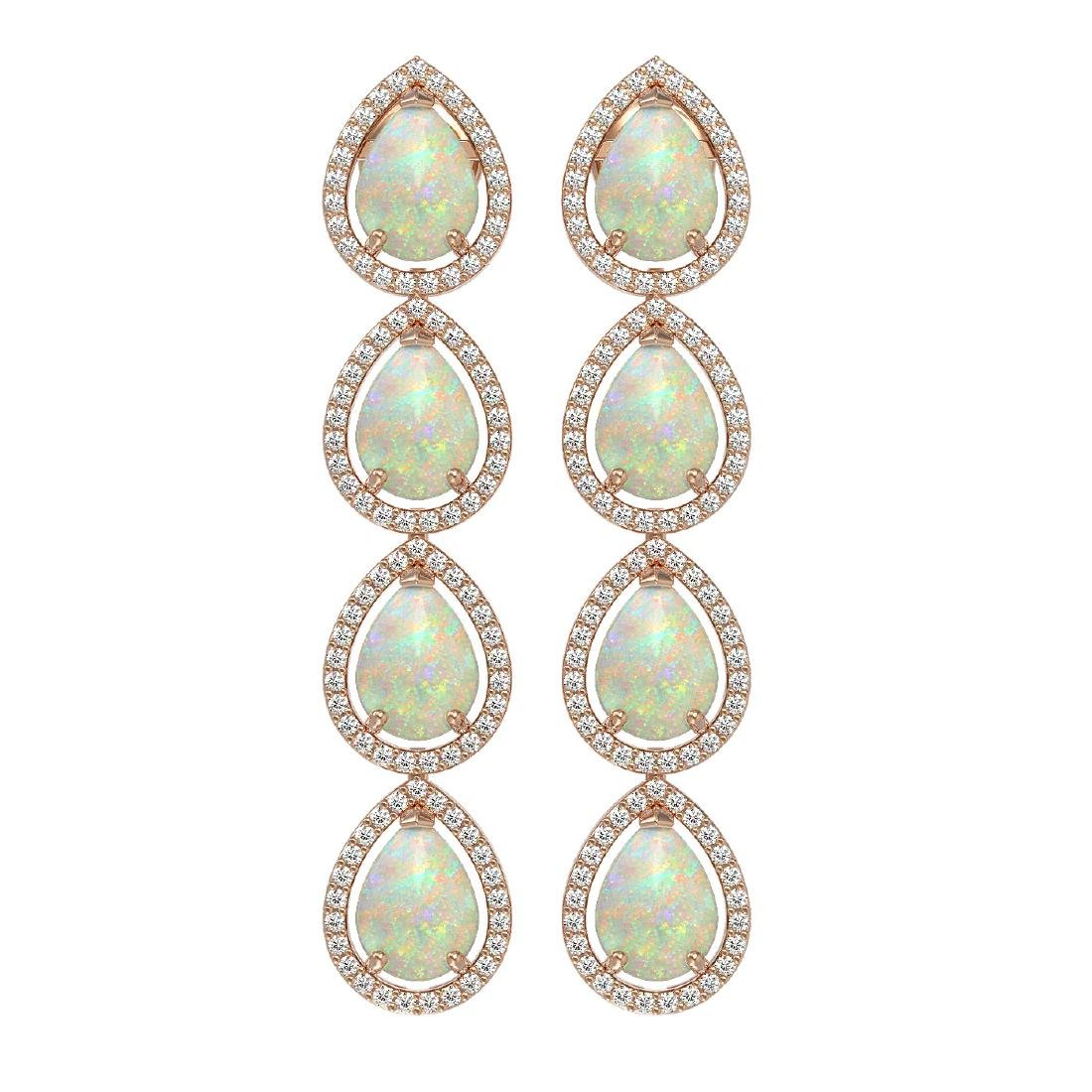 9.12 CTW Opal & Diamond Halo Earrings 10K Rose Gold