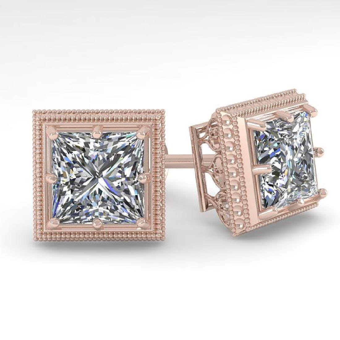 2.0 CTW VS/SI Princess Diamond Stud Earrings 14K Rose