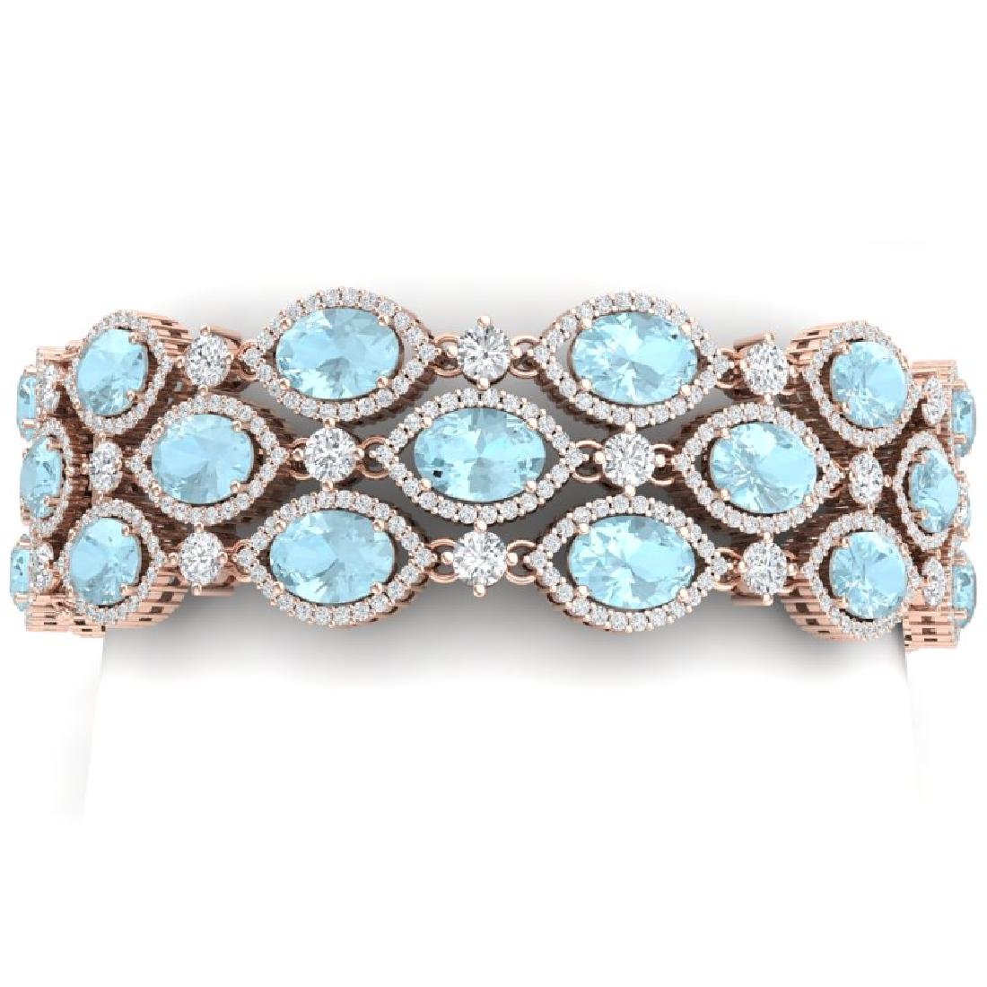 45.84 CTW Royalty Sky Topaz & VS Diamond Bracelet 18K