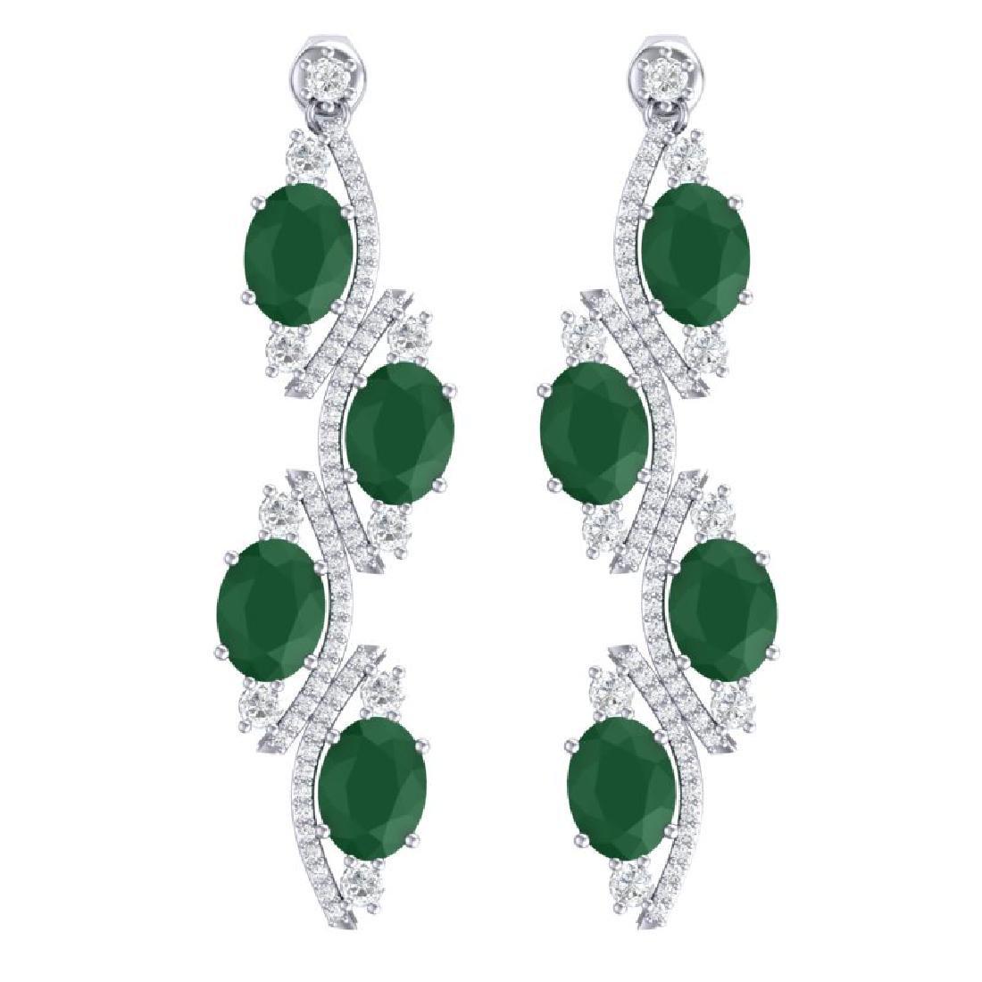 16.12 CTW Royalty Emerald & VS Diamond Earrings 18K