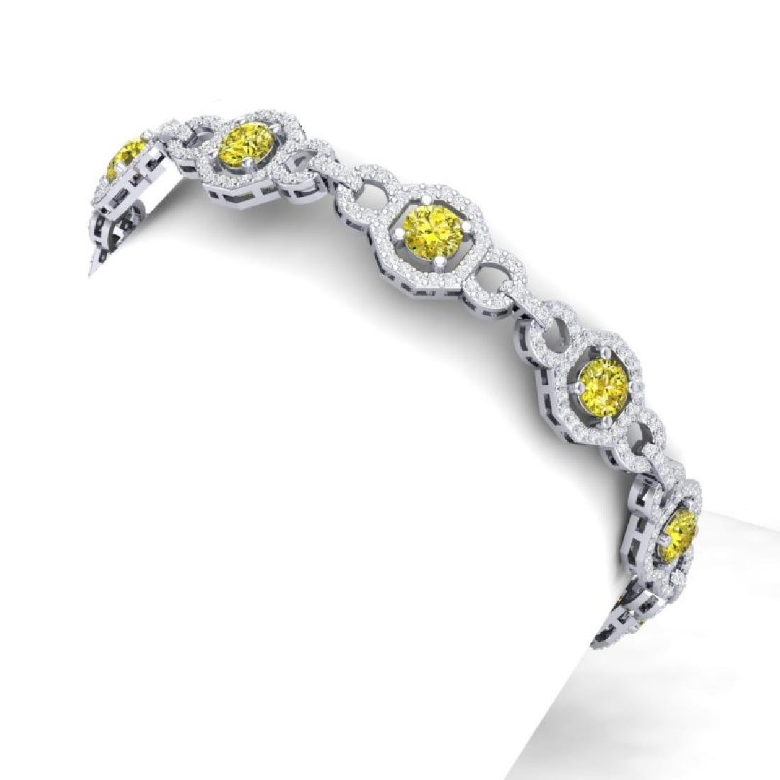 12 CTW SI/I Fancy Yellow And White Diamond Bracelet 18K