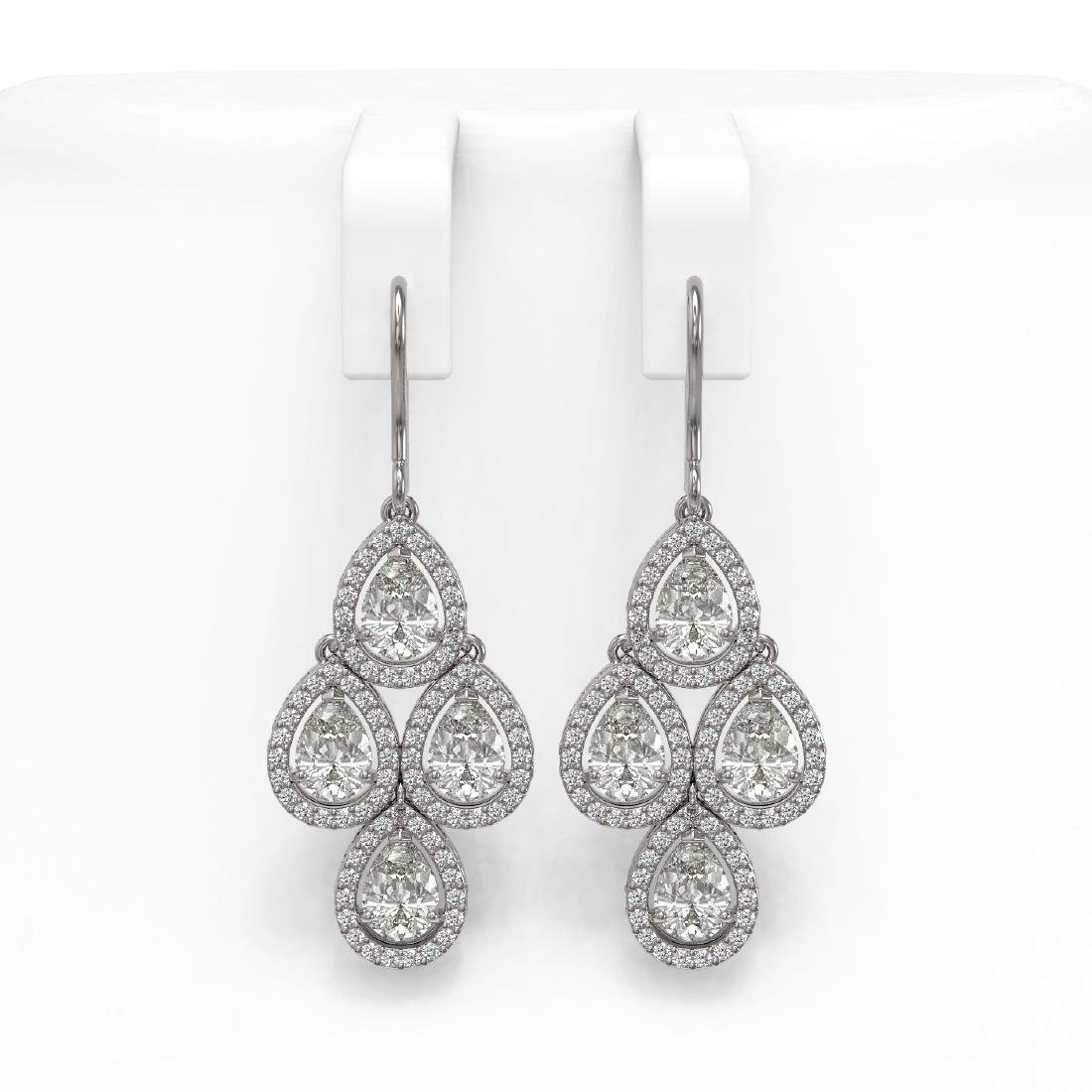 5.85 CTW Pear Diamond Designer Earrings 18K White Gold