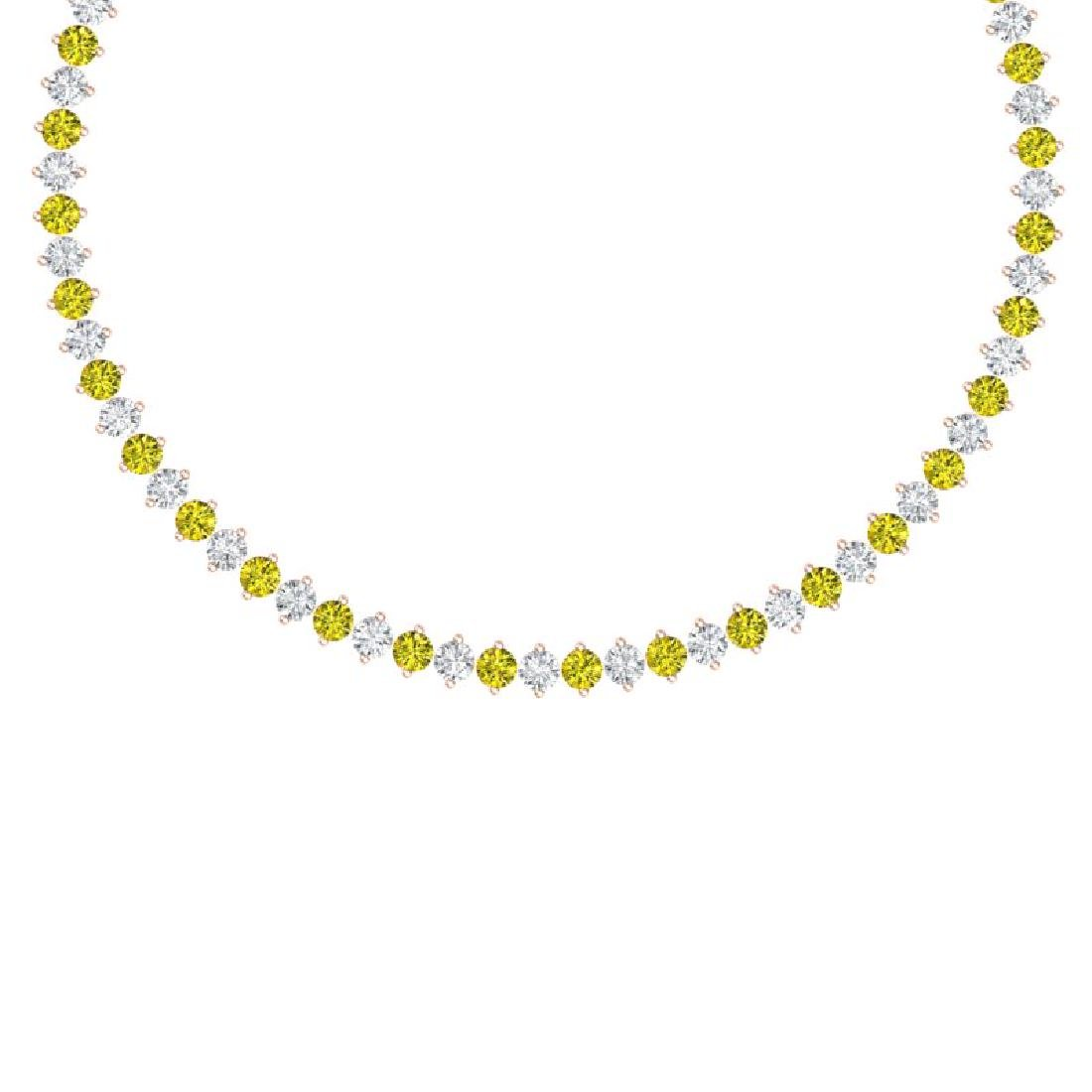 45 CTW SI/I Fancy Yellow & White Diamond Necklace 18K
