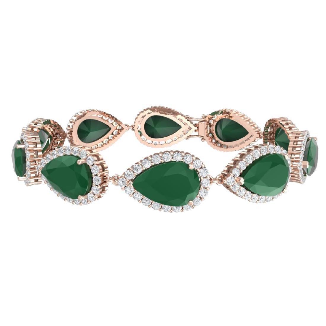 42 CTW Royalty Emerald & VS Diamond Bracelet 18K Rose - 3