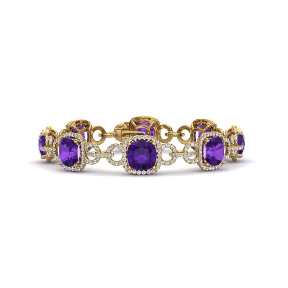30 CTW Amethyst & VS/SI Diamond Bracelet 14K Yellow
