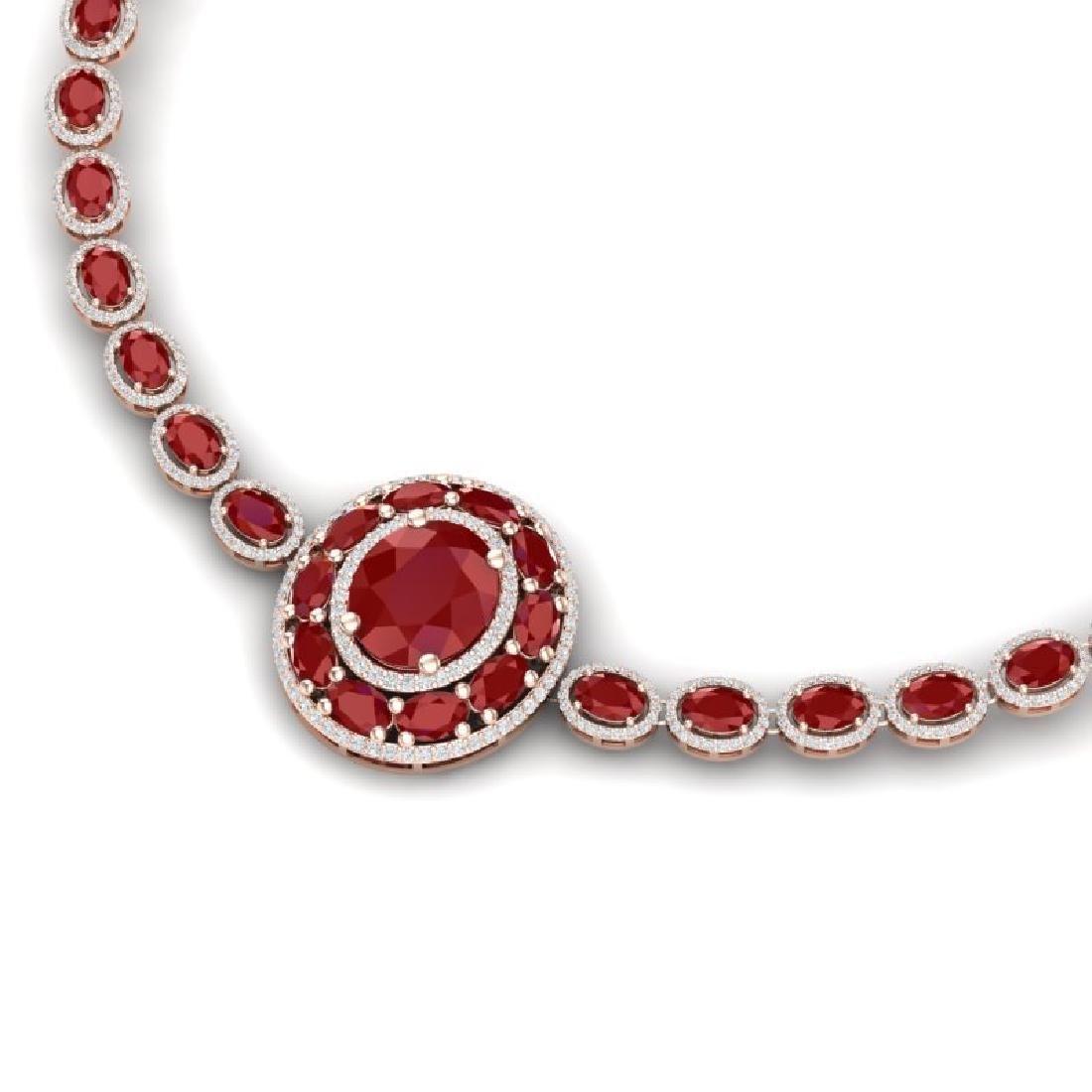 43.54 CTW Royalty Ruby & VS Diamond Necklace 18K Rose