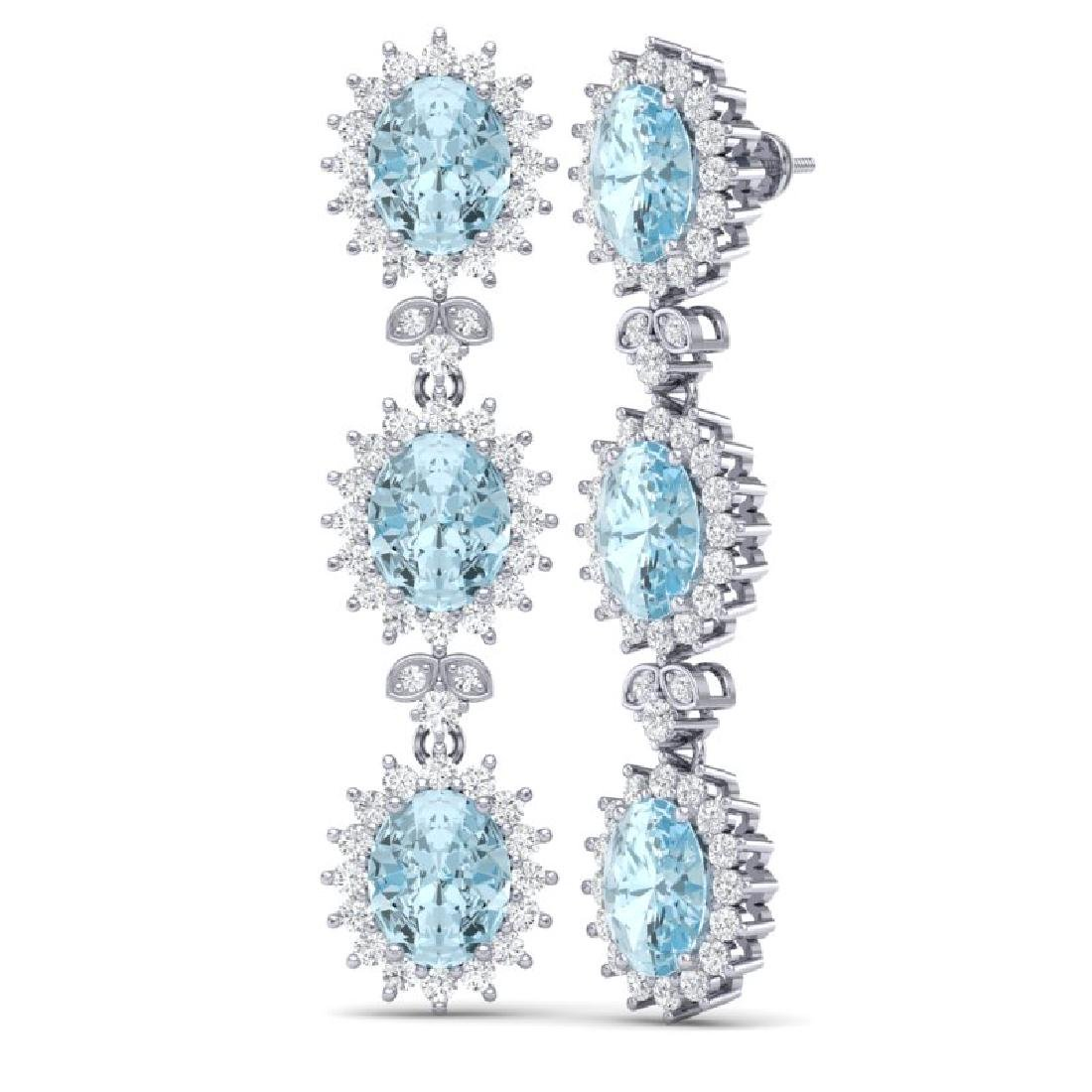 25.06 CTW Royalty Sky Topaz & VS Diamond Earrings 18K - 3