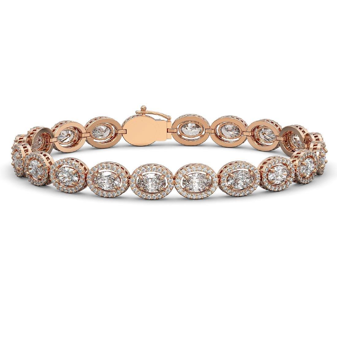 15.20 CTW Oval Diamond Designer Bracelet 18K Rose Gold