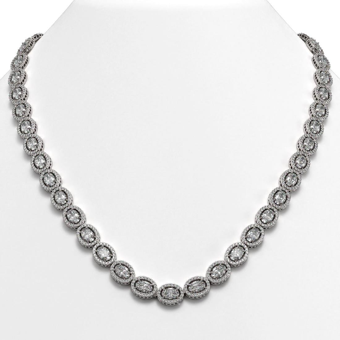 34.96 CTW Oval Diamond Designer Necklace 18K White Gold