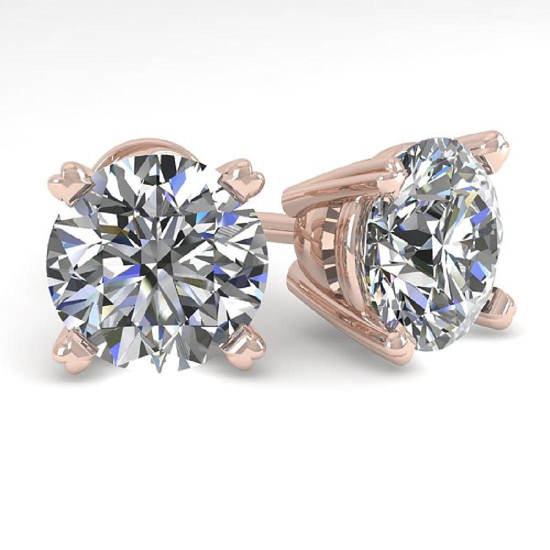 3 CTW Certified VS/SI Diamond Stud Earrings 14K Rose
