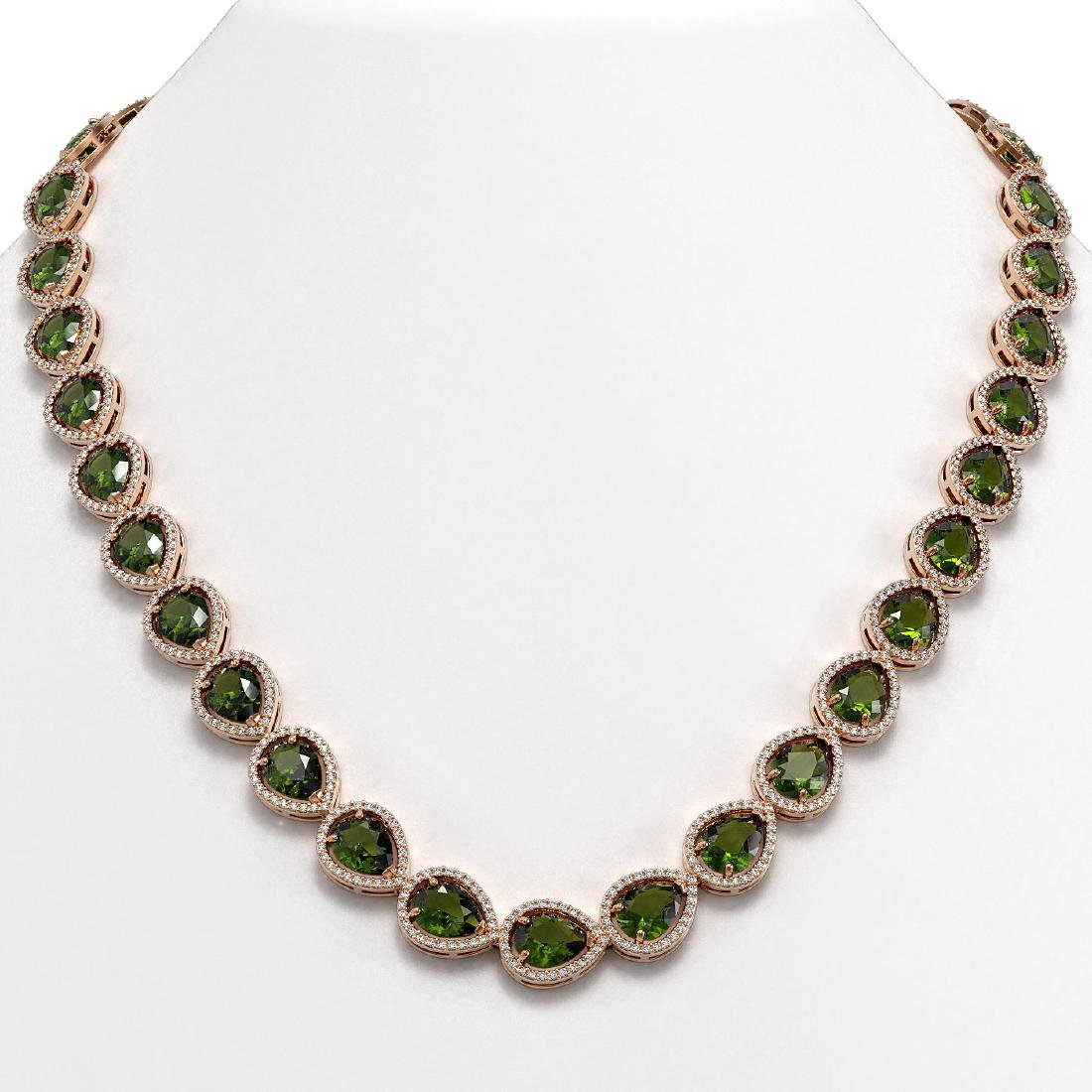 41.6 CTW Tourmaline & Diamond Halo Necklace 10K Rose