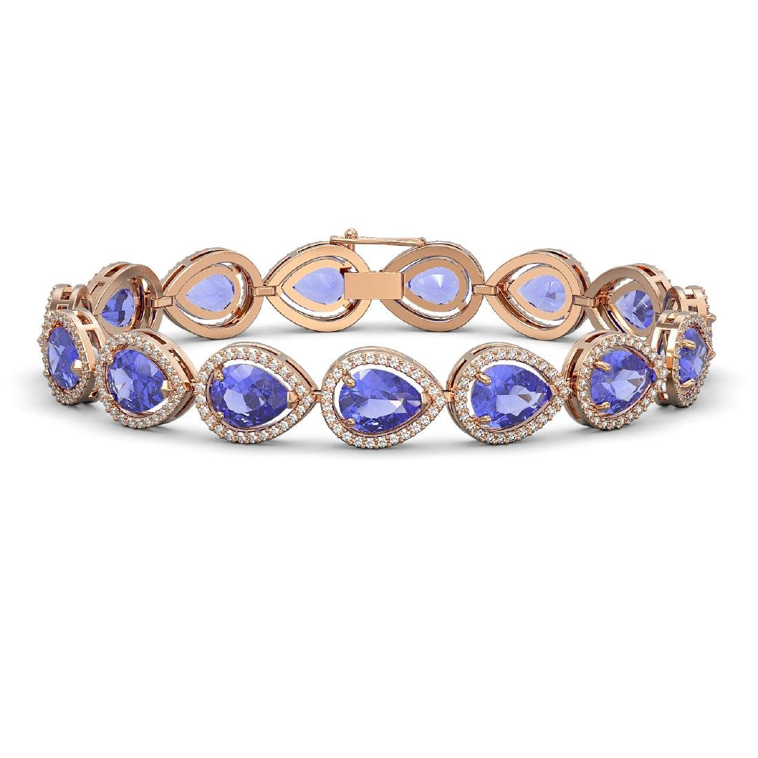 21.06 CTW Tanzanite & Diamond Halo Bracelet 10K Rose