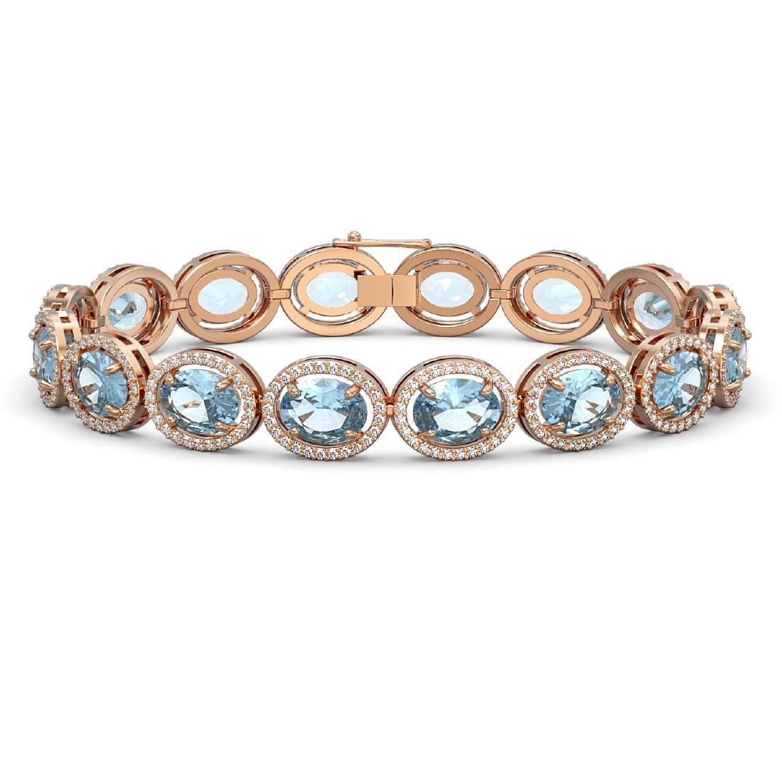 29.53 CTW Sky Topaz & Diamond Halo Bracelet 10K Rose