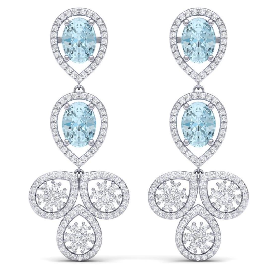 9.55 CTW Royalty Sky Topaz & VS Diamond Earrings 18K