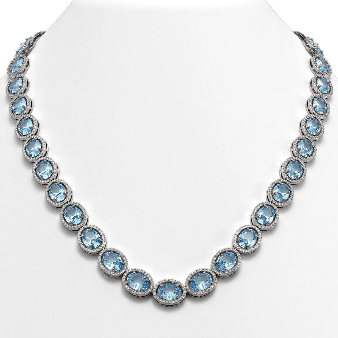 54.11 CTW Aquamarine & Diamond Halo Necklace 10K White
