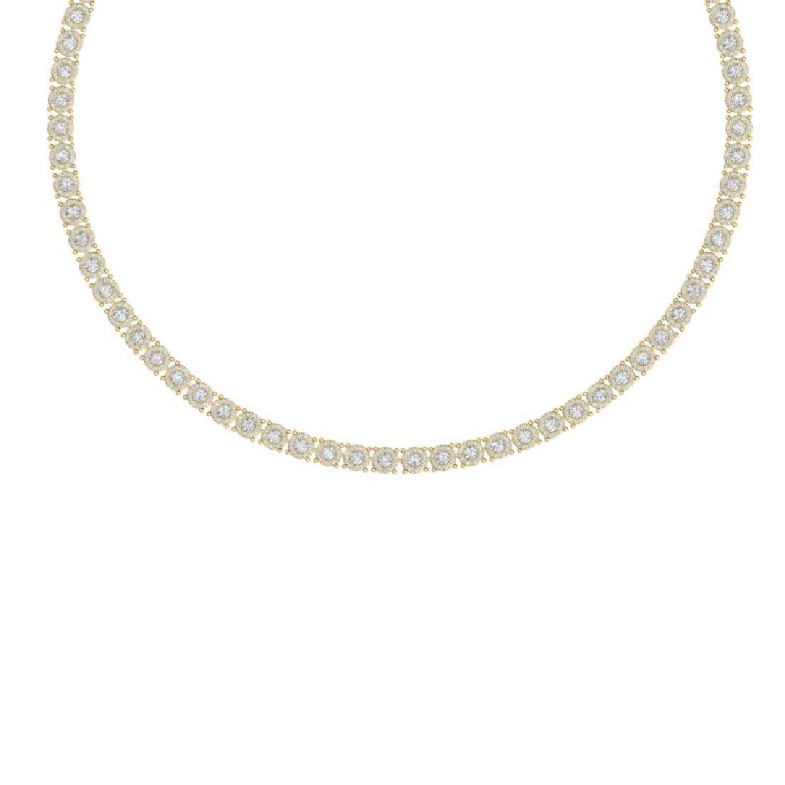 12 CTW Certified SI/I Diamond Halo Necklace 18K Yellow