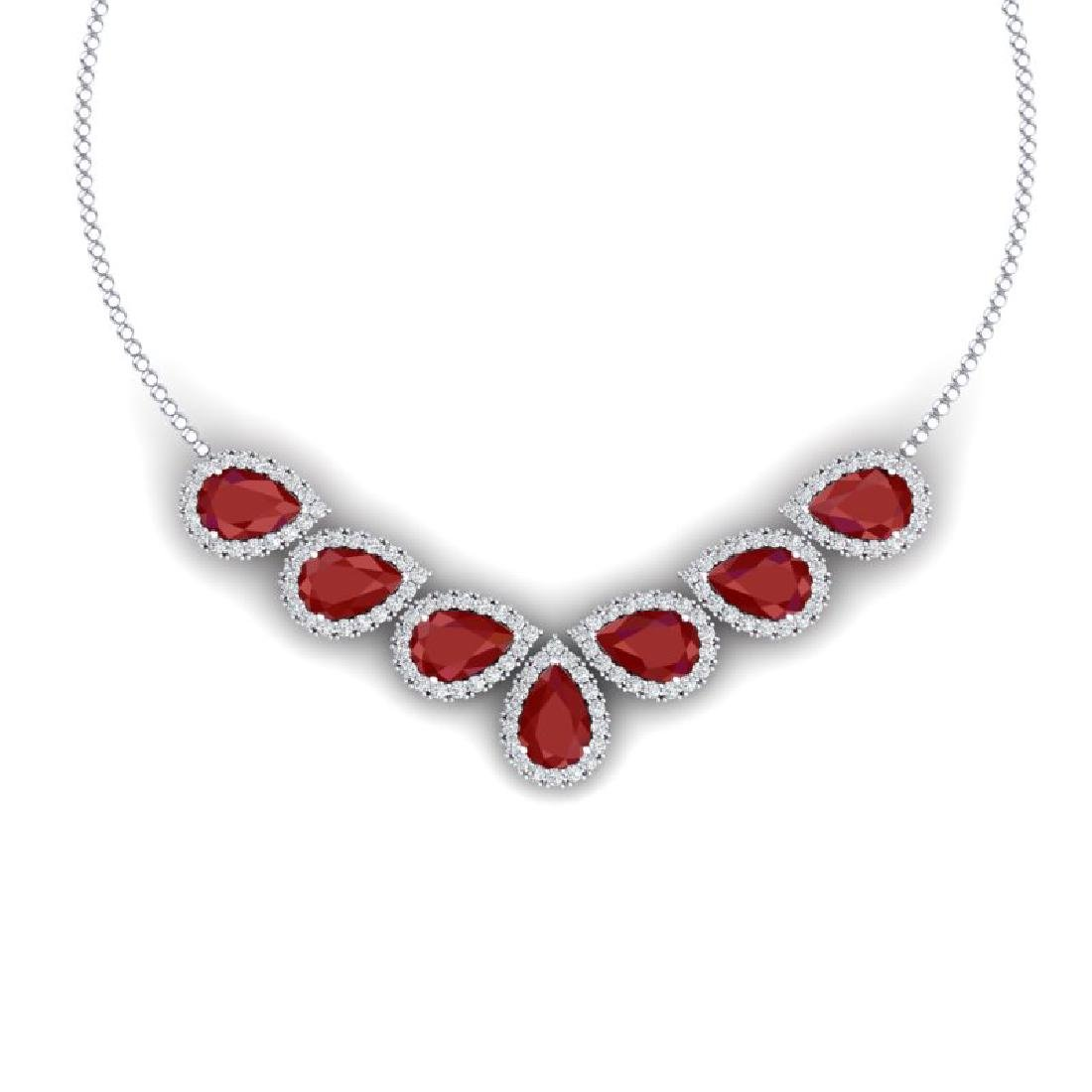 34.72 CTW Royalty Ruby & VS Diamond Necklace 18K White