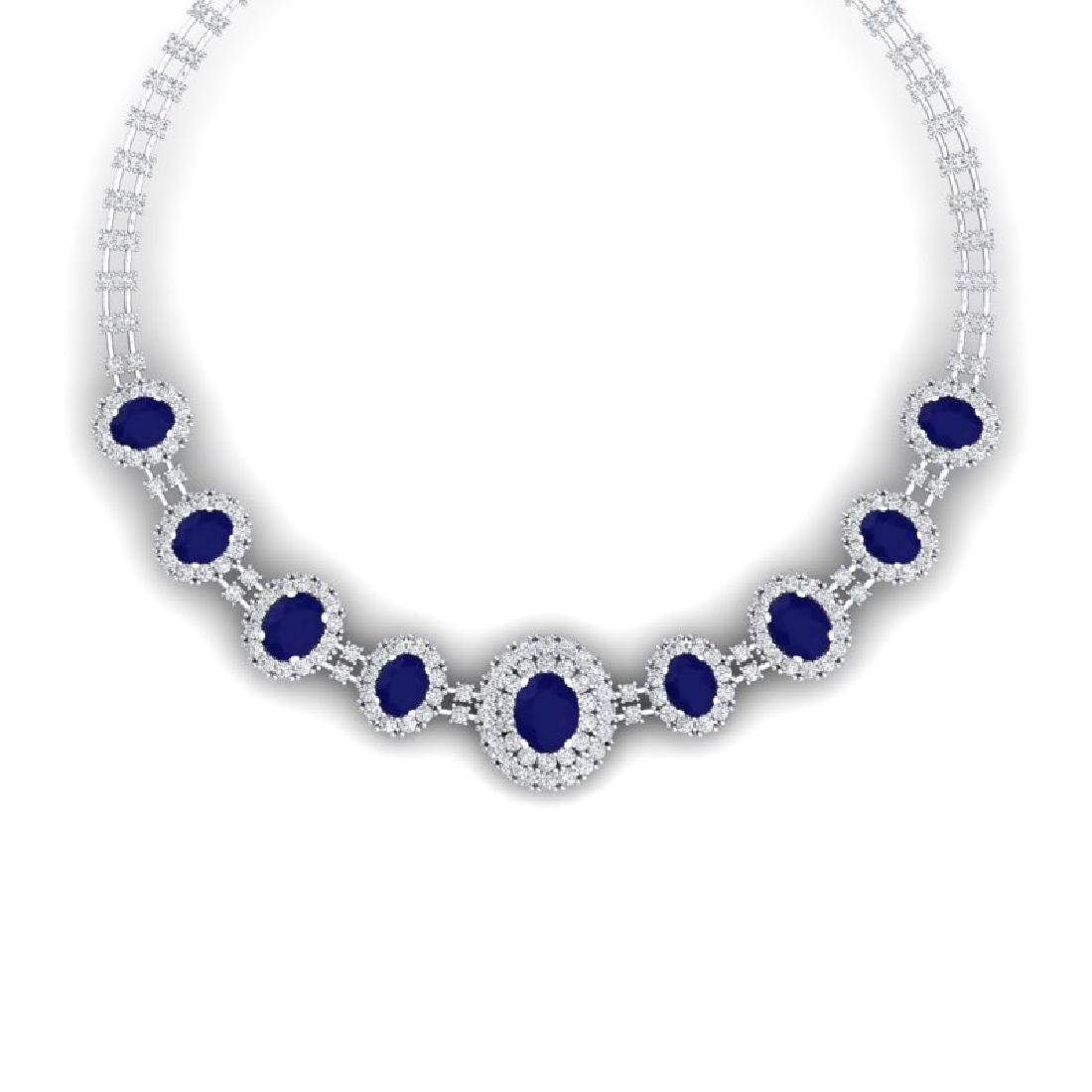 45.69 CTW Royalty Sapphire & VS Diamond Necklace 18K