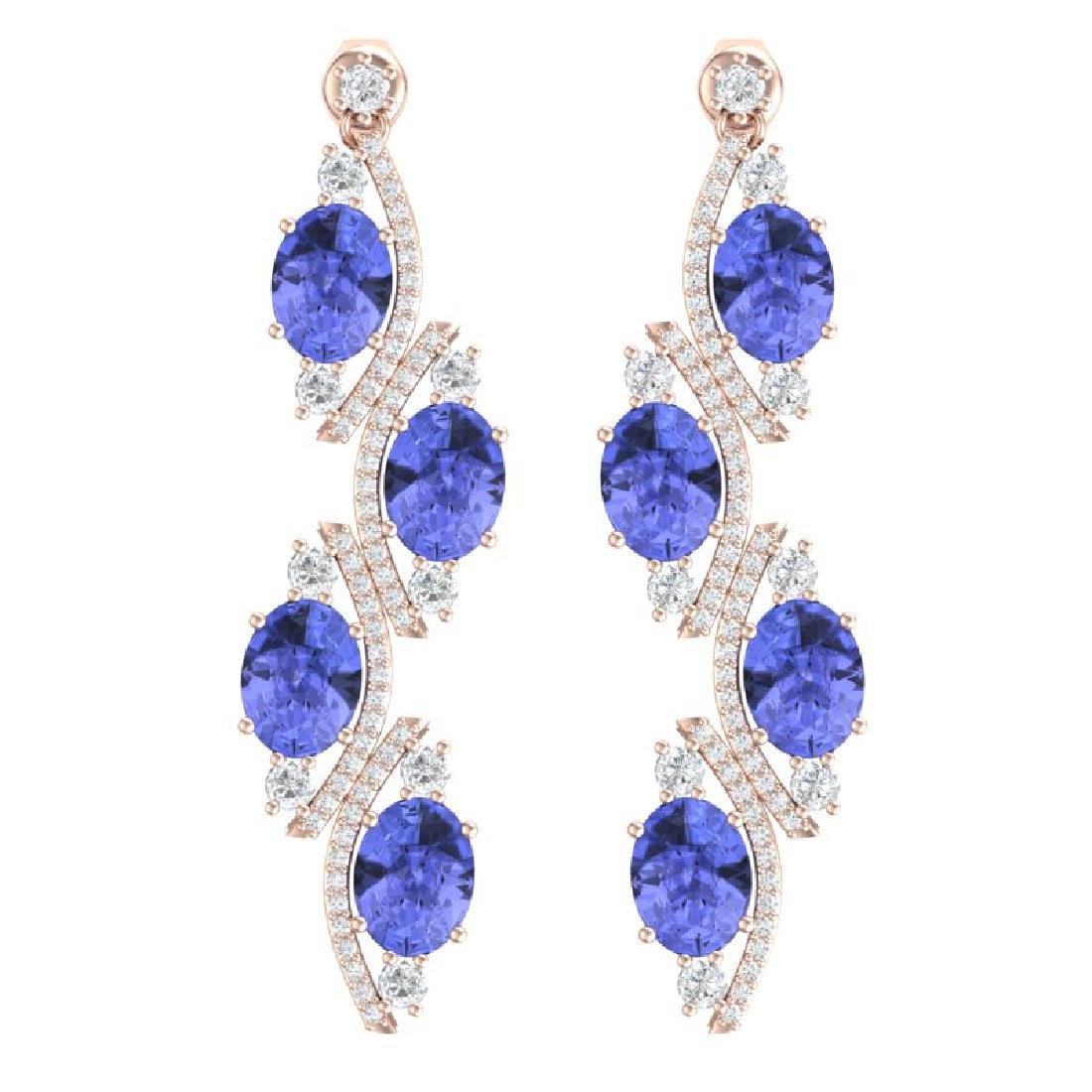 16.23 CTW Royalty Tanzanite & VS Diamond Earrings 18K