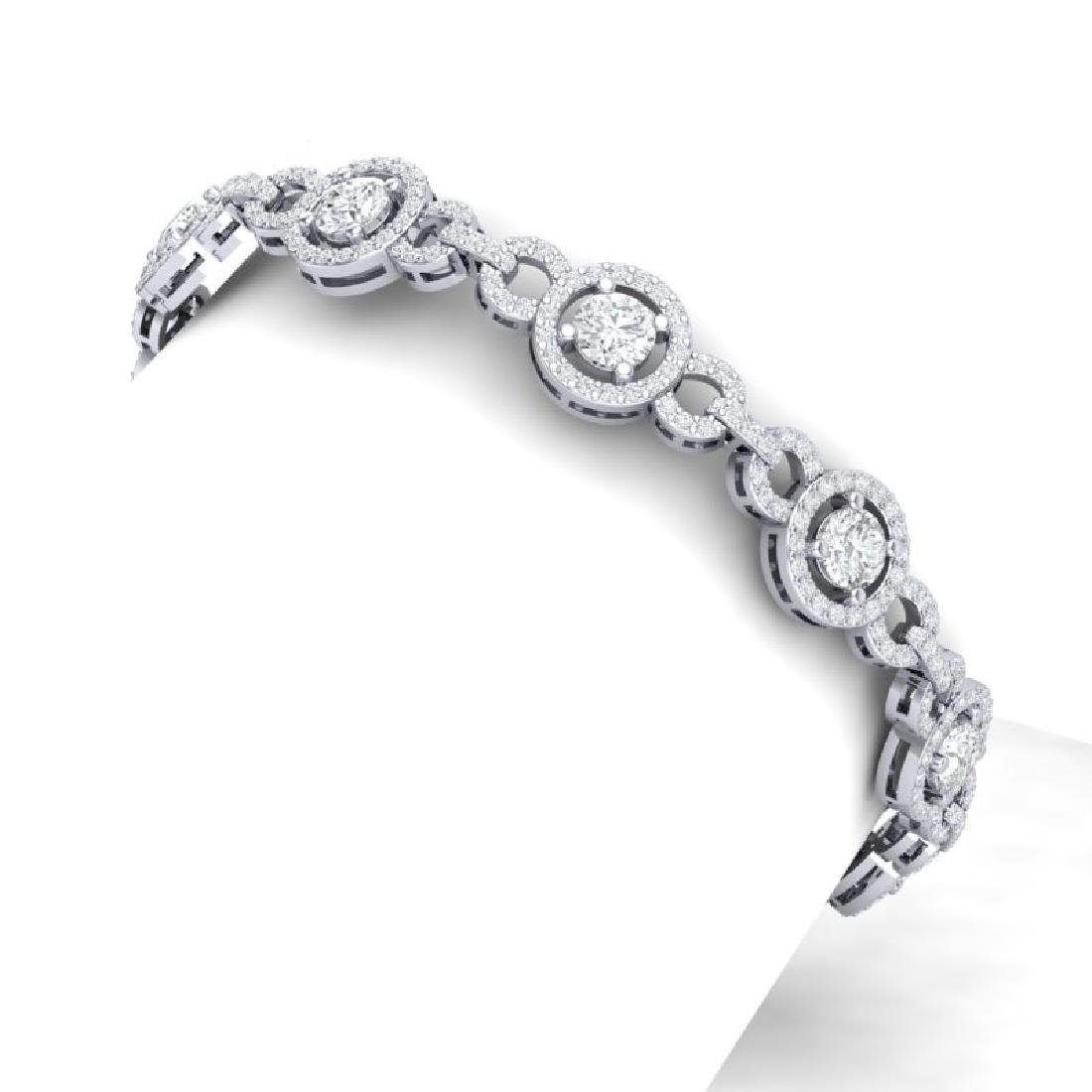 9 CTW Certified SI/I Diamond Halo Bracelet 18K White