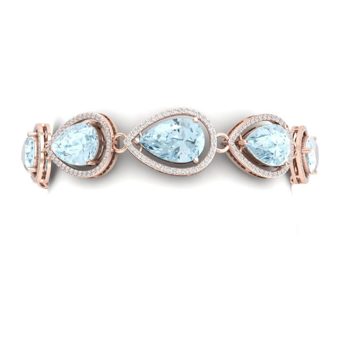 25.53 CTW Royalty Sky Topaz & VS Diamond Bracelet 18K