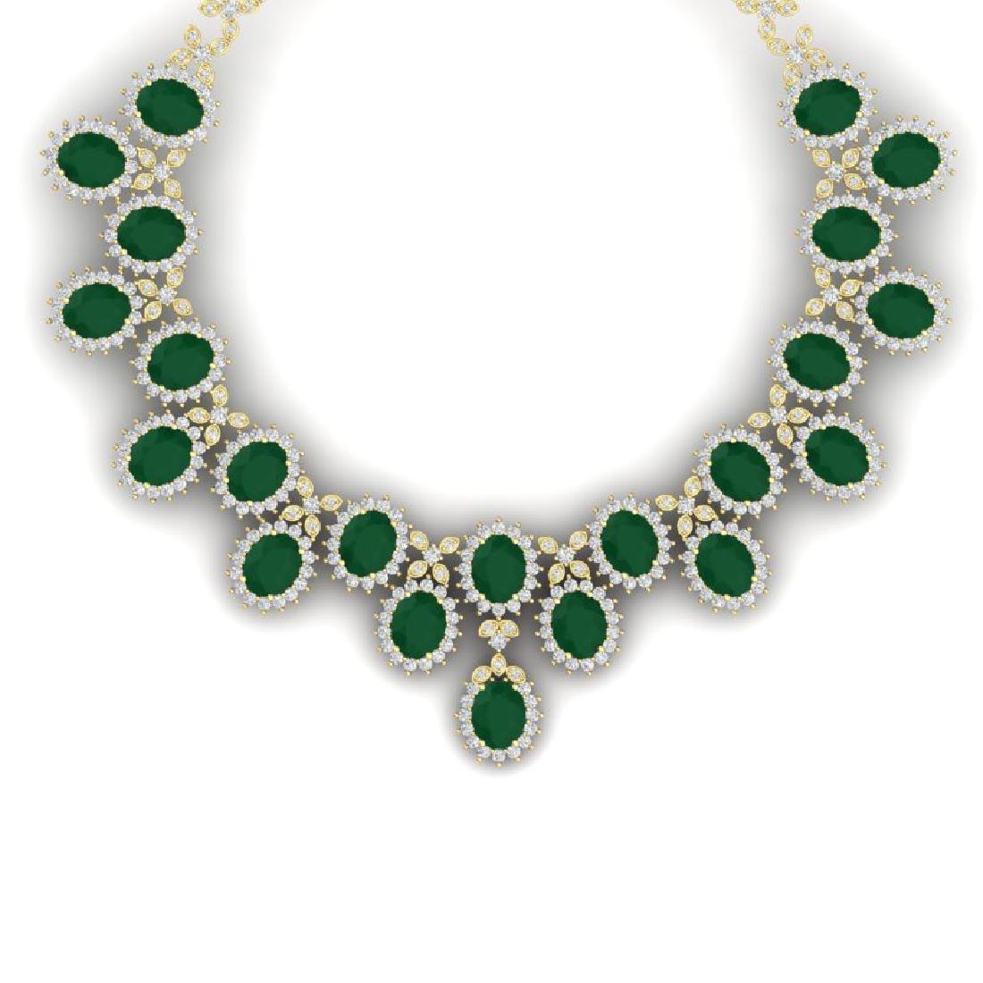 81 CTW Royalty Emerald & VS Diamond Necklace 18K Yellow
