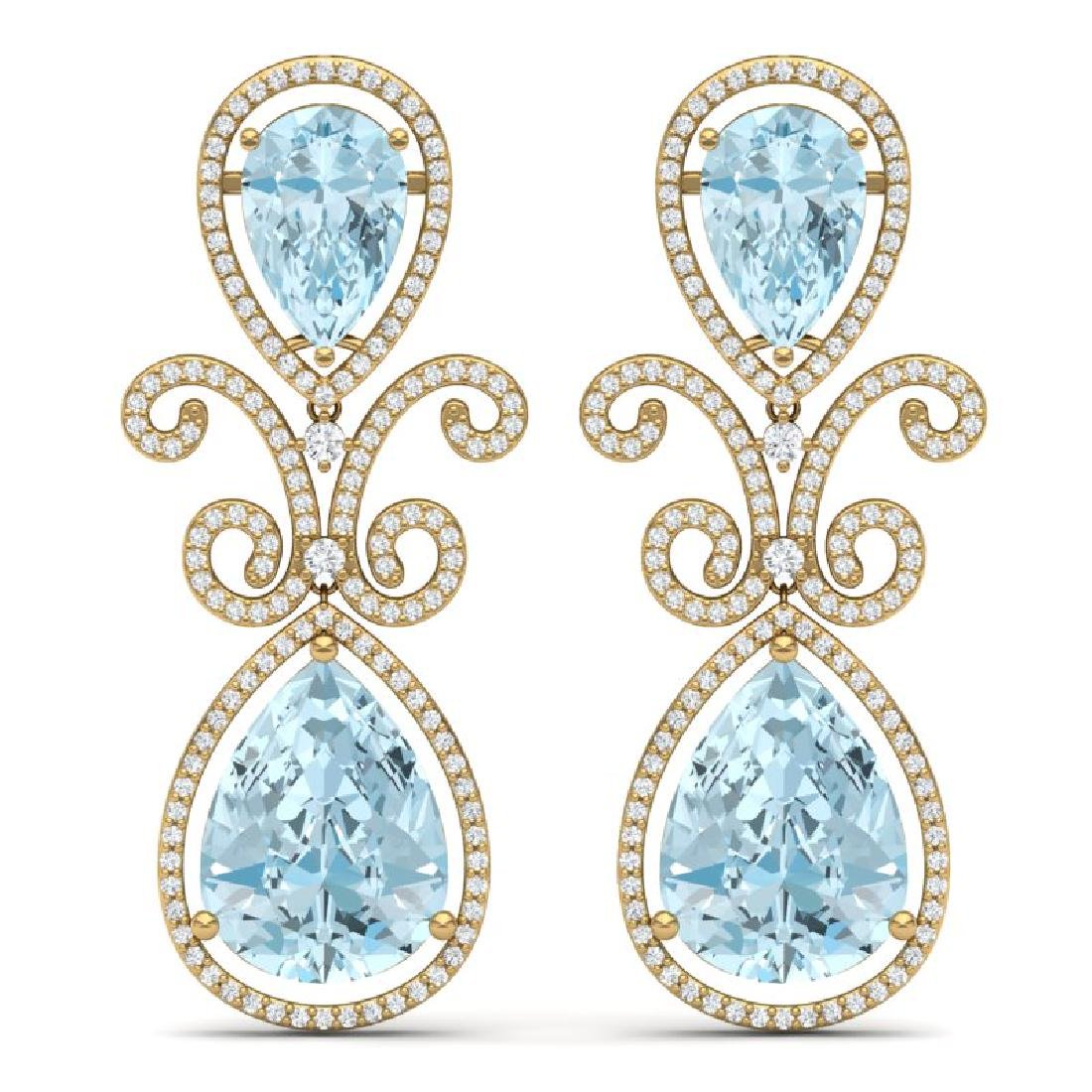 30.49 CTW Royalty Sky Topaz & VS Diamond Earrings 18K