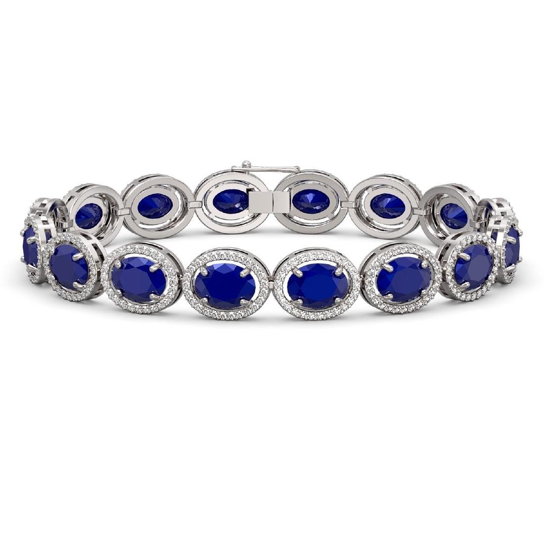 31.79 CTW Sapphire & Diamond Halo Bracelet 10K White