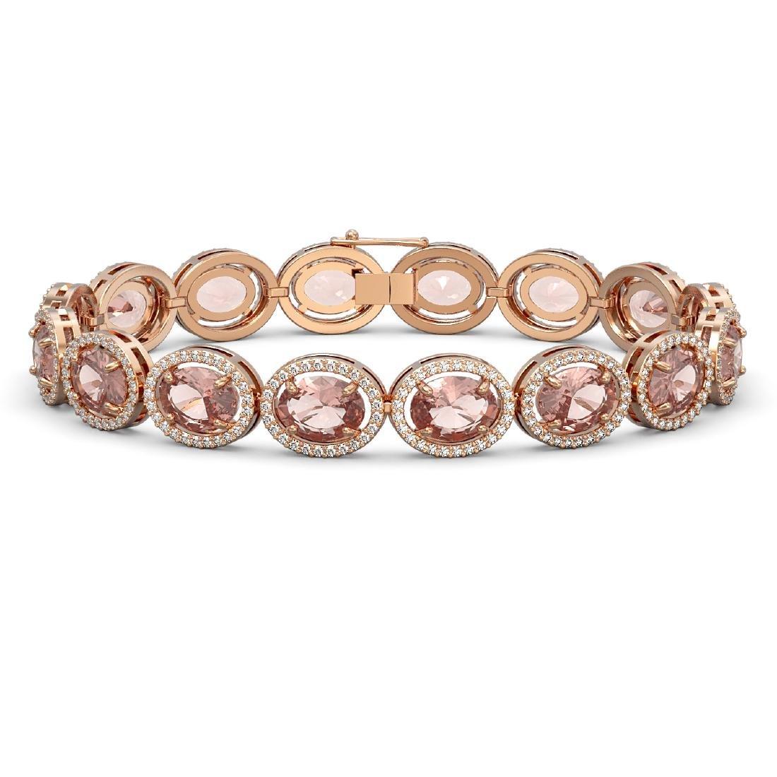 22.8 CTW Morganite & Diamond Halo Bracelet 10K Rose