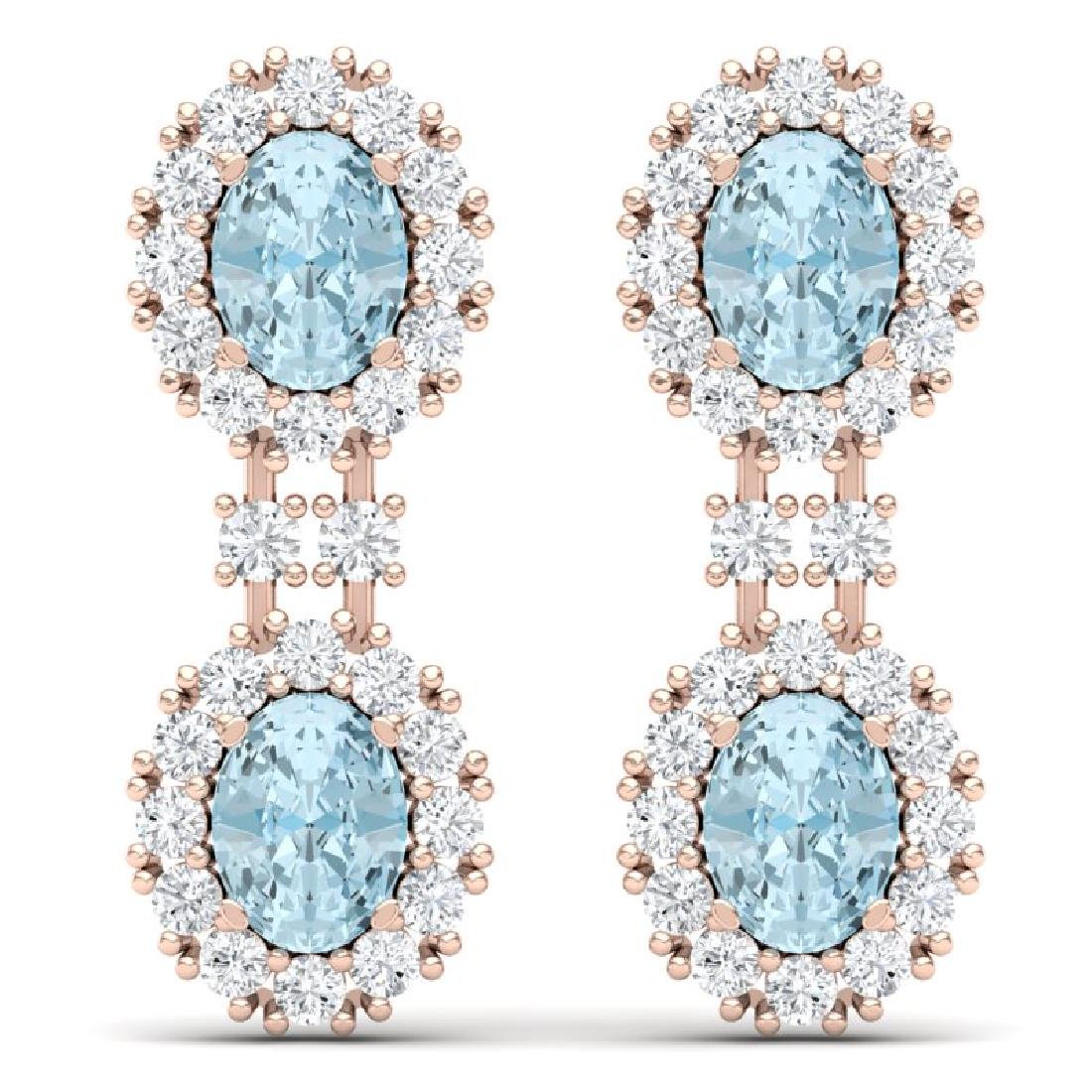 8.8 CTW Royalty Sky Topaz & VS Diamond Earrings 18K