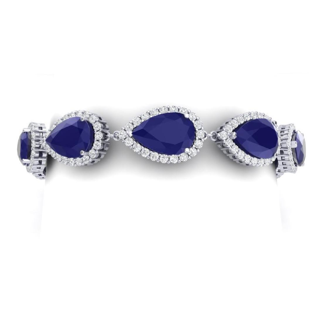 42 CTW Royalty Sapphire & VS Diamond Bracelet 18K White