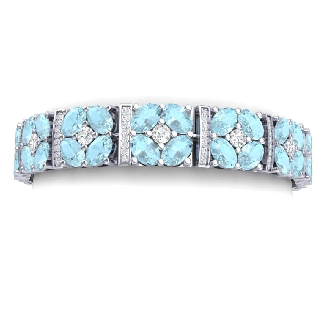 32.39 CTW Royalty Sky Topaz & VS Diamond Bracelet 18K