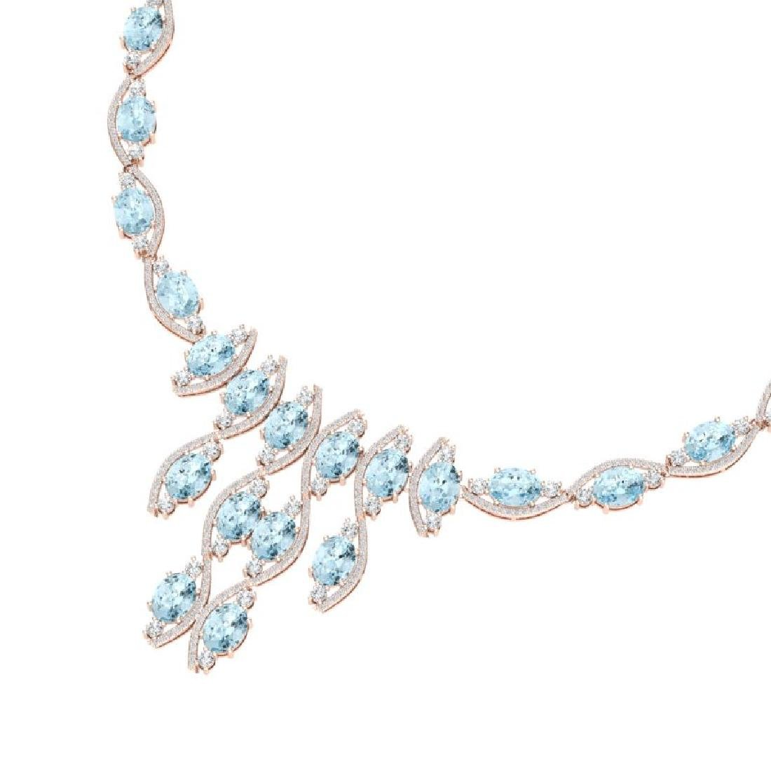 68.12 CTW Royalty Sky Topaz & VS Diamond Necklace 18K