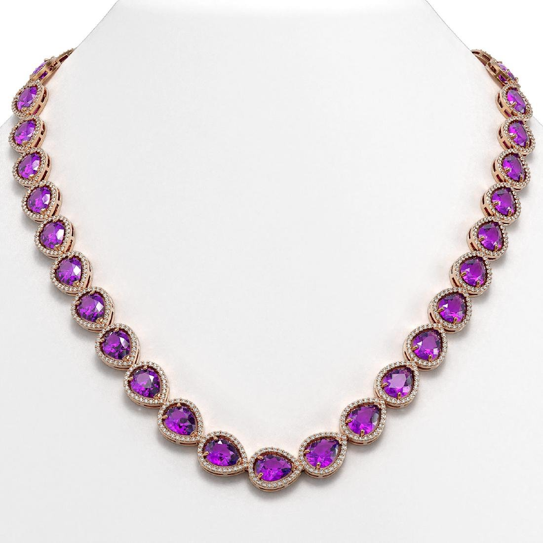 43.2 CTW Amethyst & Diamond Halo Necklace 10K Rose Gold