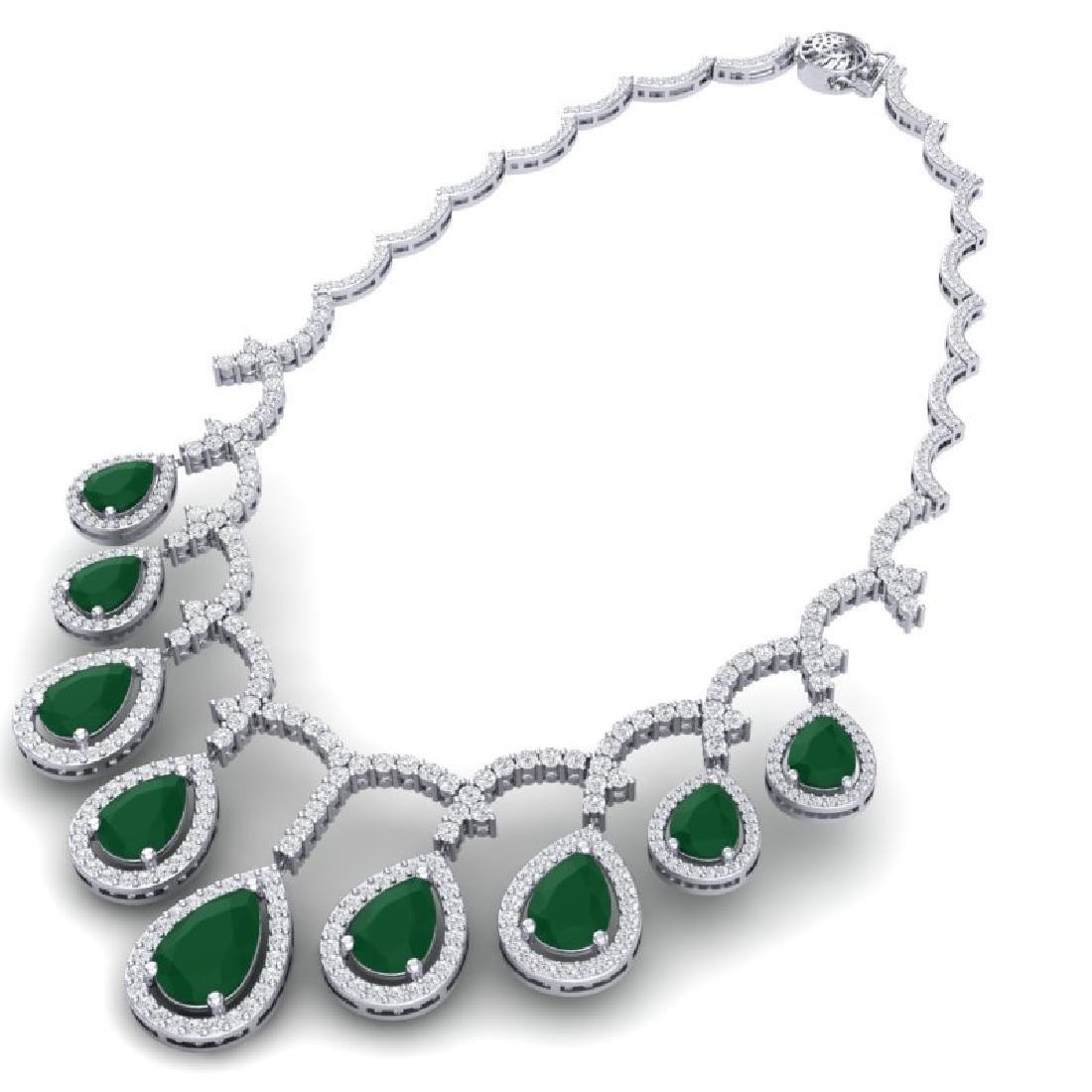 31.5 CTW Royalty Emerald & VS Diamond Necklace 18K - 3