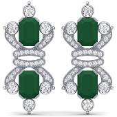2736 CTW Royalty Emerald  VS Diamond Earrings 18K