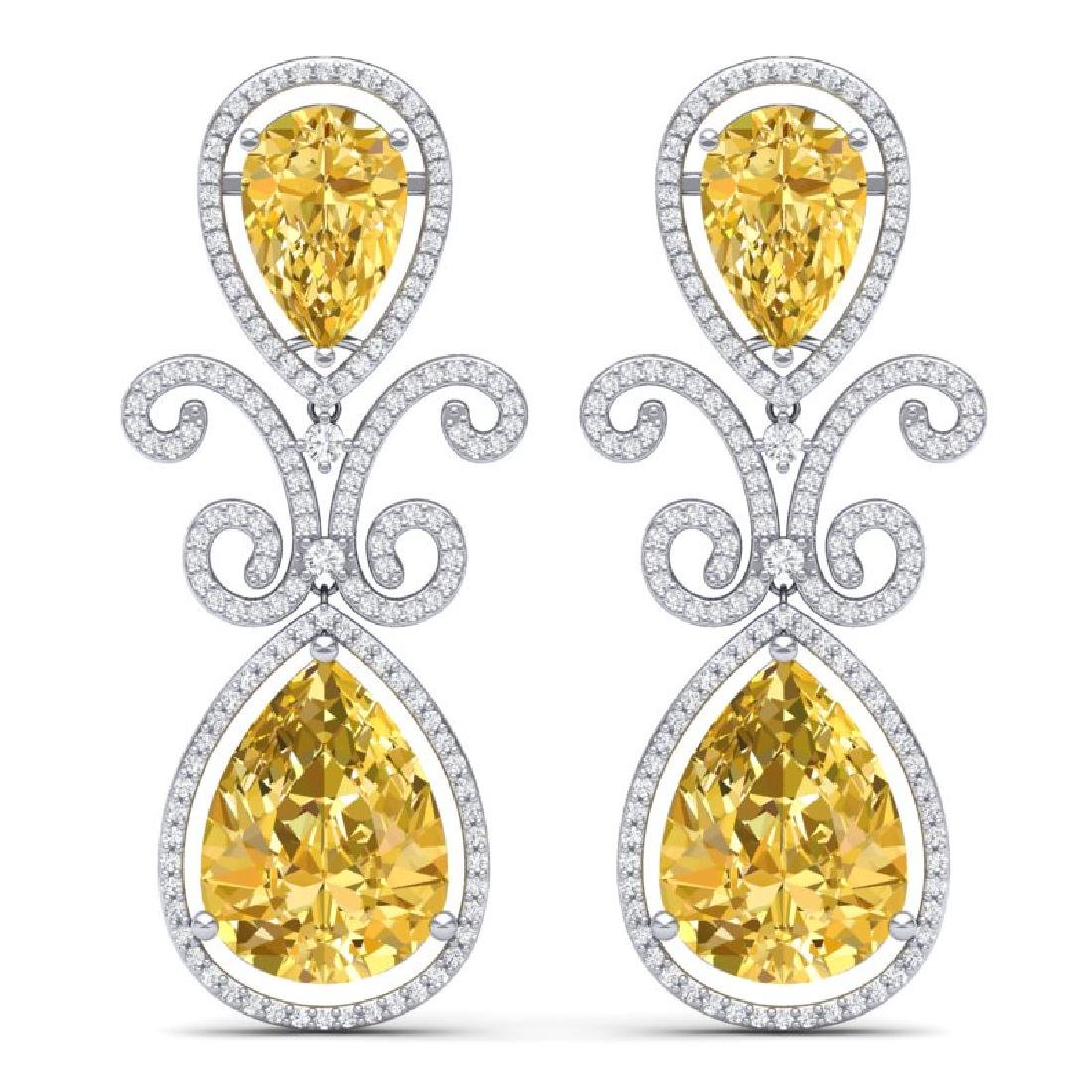27.31 CTW Royalty Canary Citrine & VS Diamond Earrings