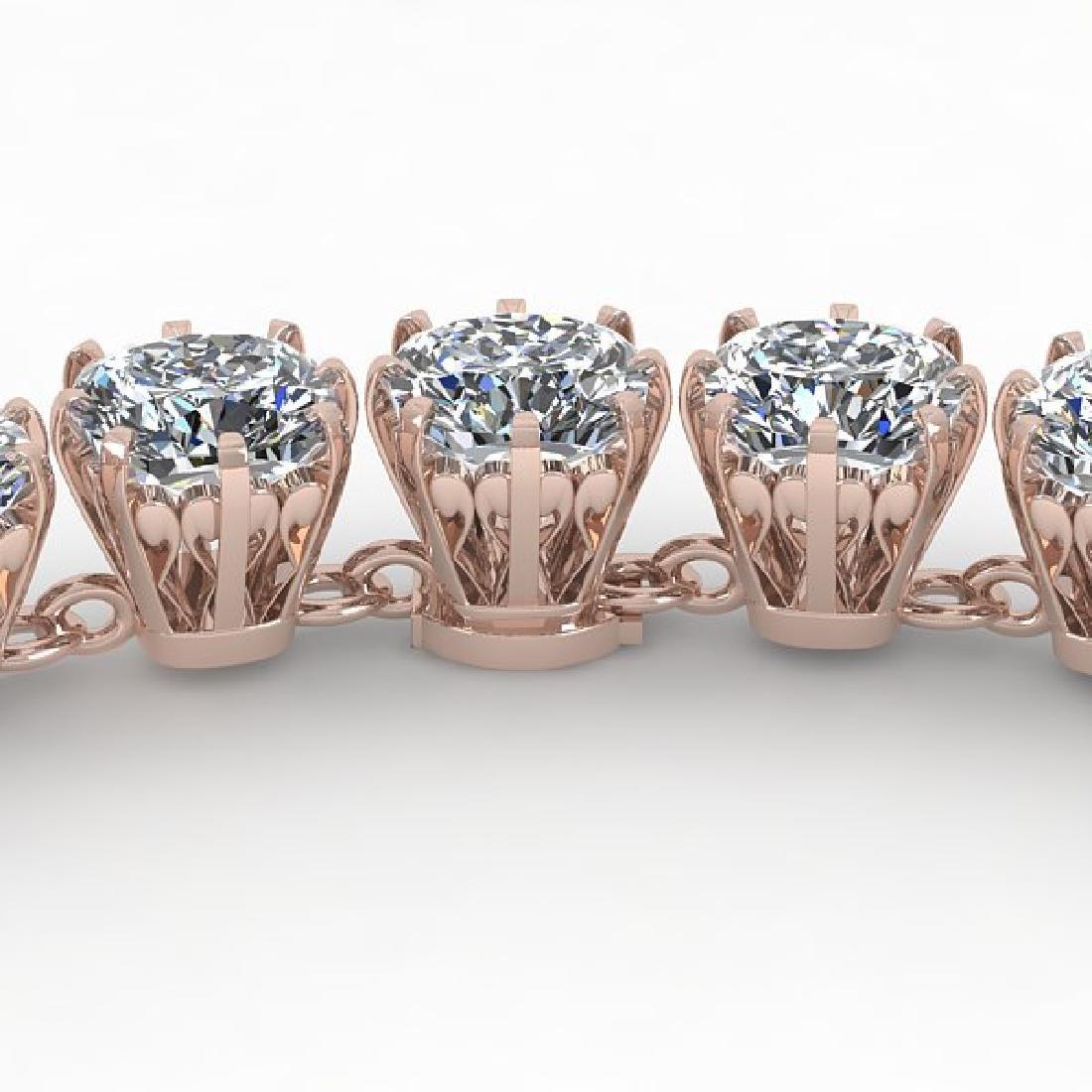 28 CTW Oval Cut SI Certified Diamond Necklace 18K Rose