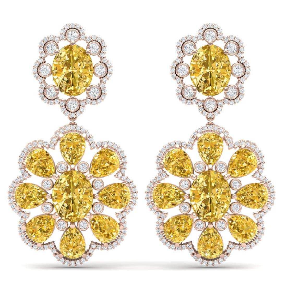 29.9 CTW Royalty Canary Citrine & VS Diamond Earrings
