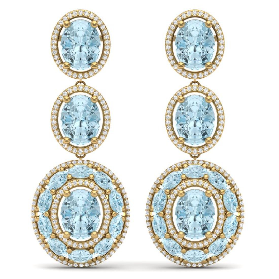 34.52 CTW Royalty Sky Topaz & VS Diamond Earrings 18K