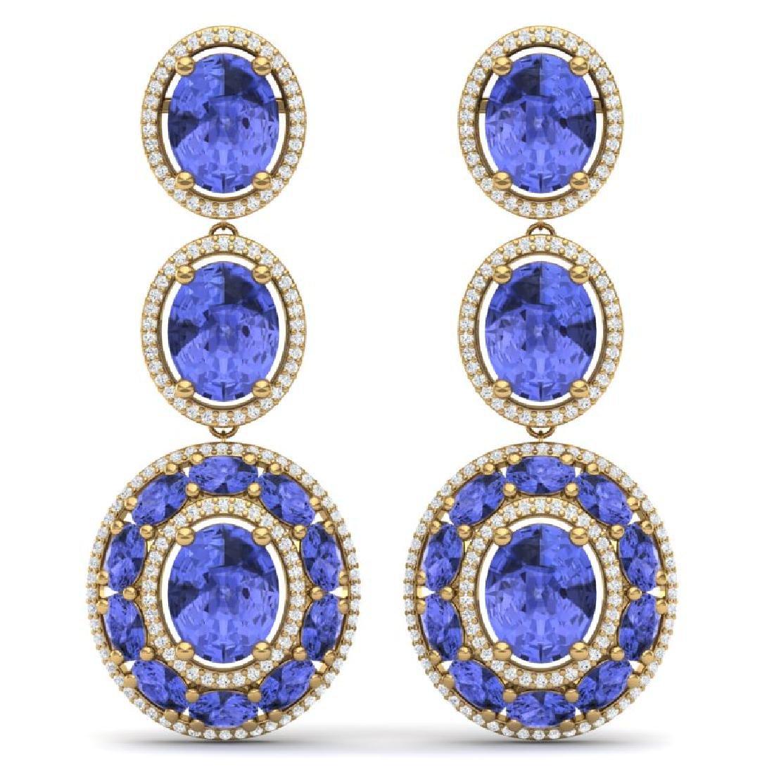 33.72 CTW Royalty Tanzanite & VS Diamond Earrings 18K