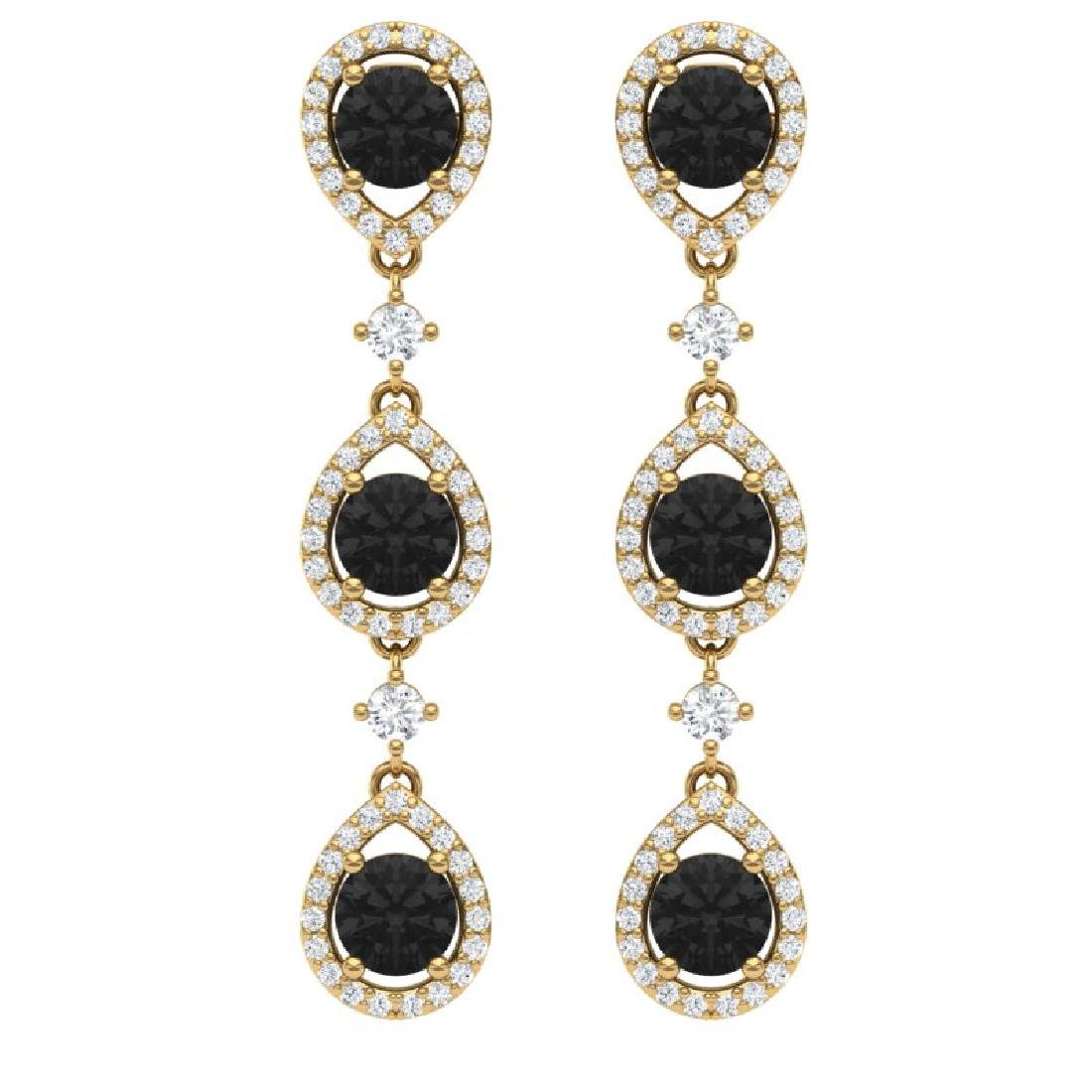 4.7 CTW Certified Black VS Diamond Earrings 18K Yellow