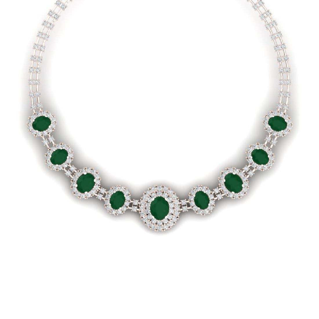 45.69 CTW Royalty Emerald & VS Diamond Necklace 18K