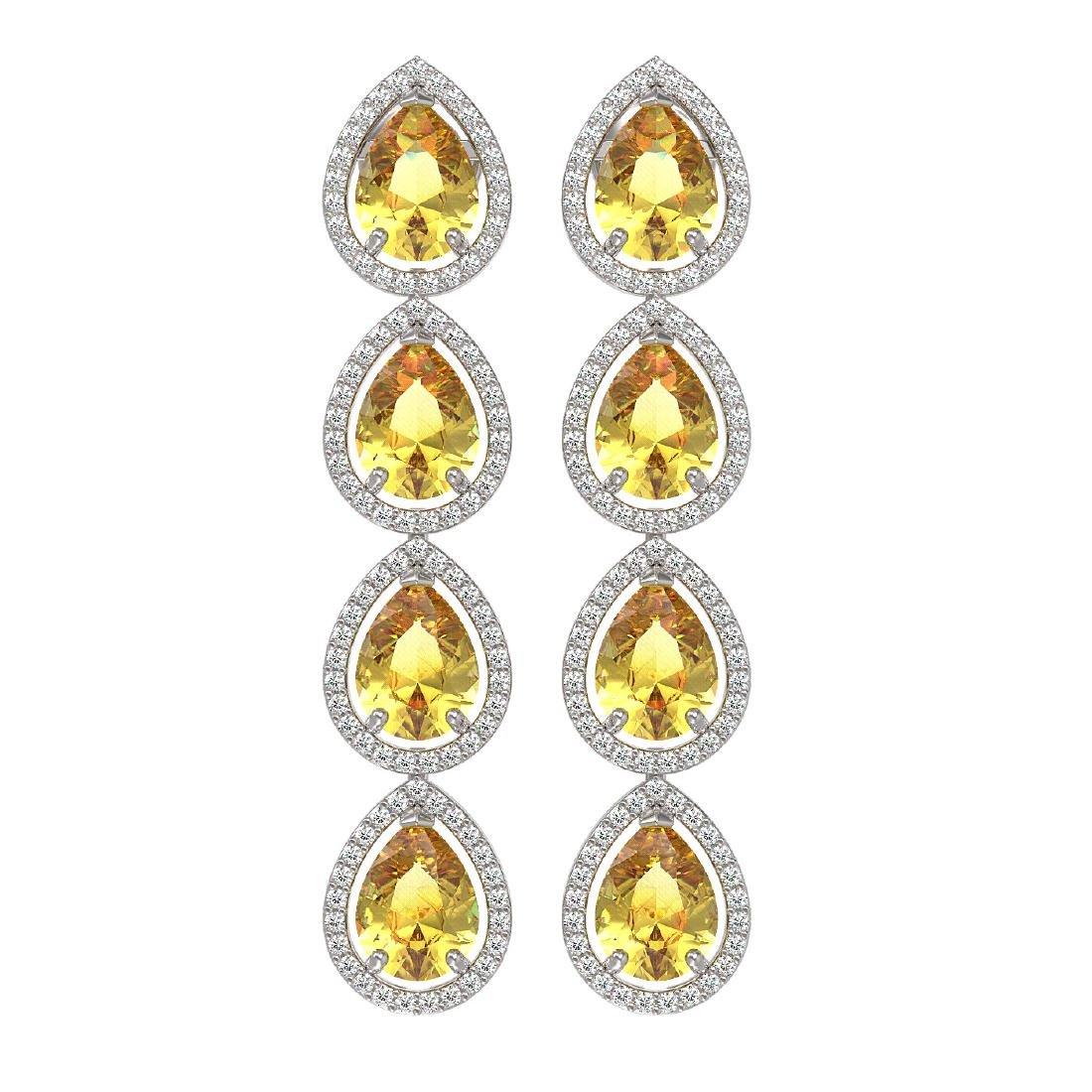9.2 CTW Fancy Citrine & Diamond Halo Earrings 10K White