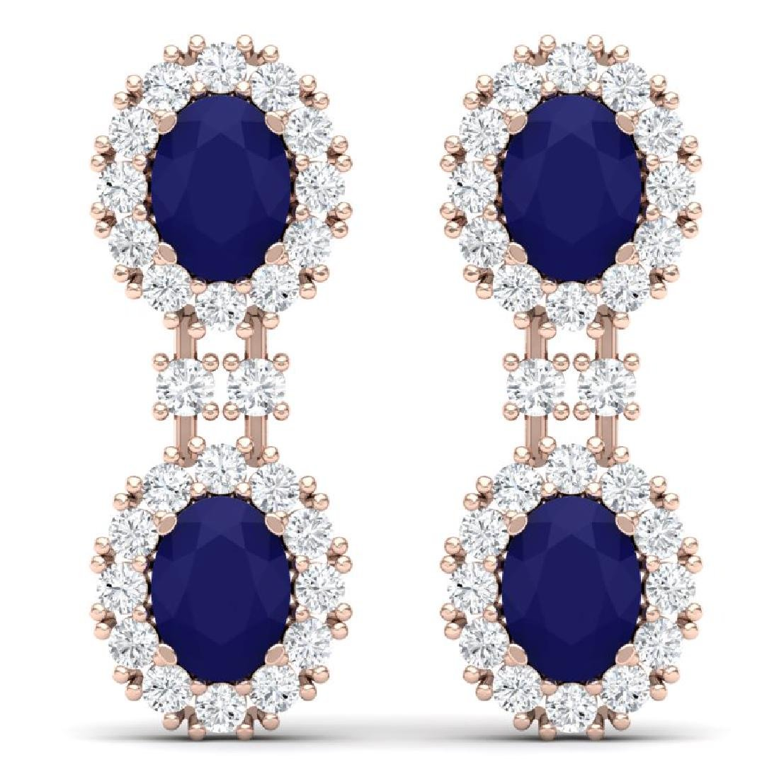 8.98 CTW Royalty Sapphire & VS Diamond Earrings 18K