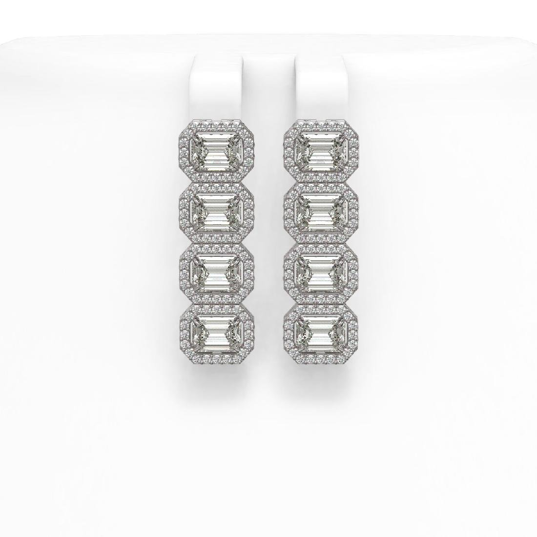 5.92 CTW Emerald Cut Diamond Designer Earrings 18K