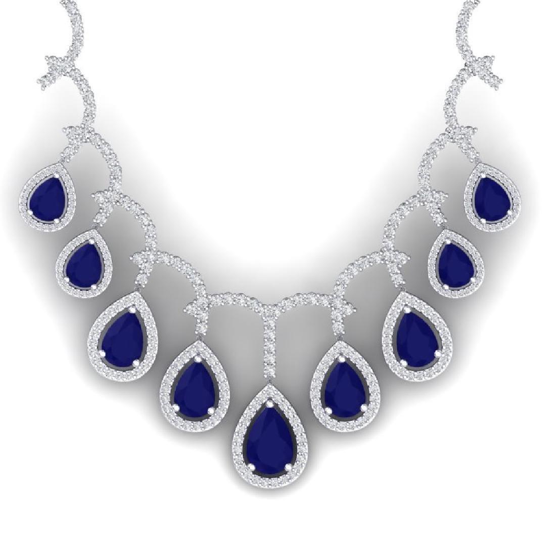 31.5 CTW Royalty Sapphire & VS Diamond Necklace 18K