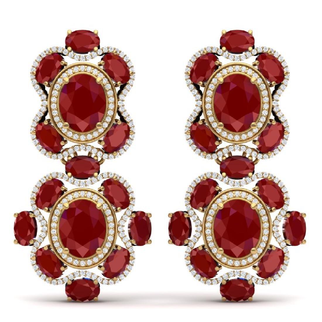 33.5 CTW Royalty Designer Ruby & VS Diamond Earrings