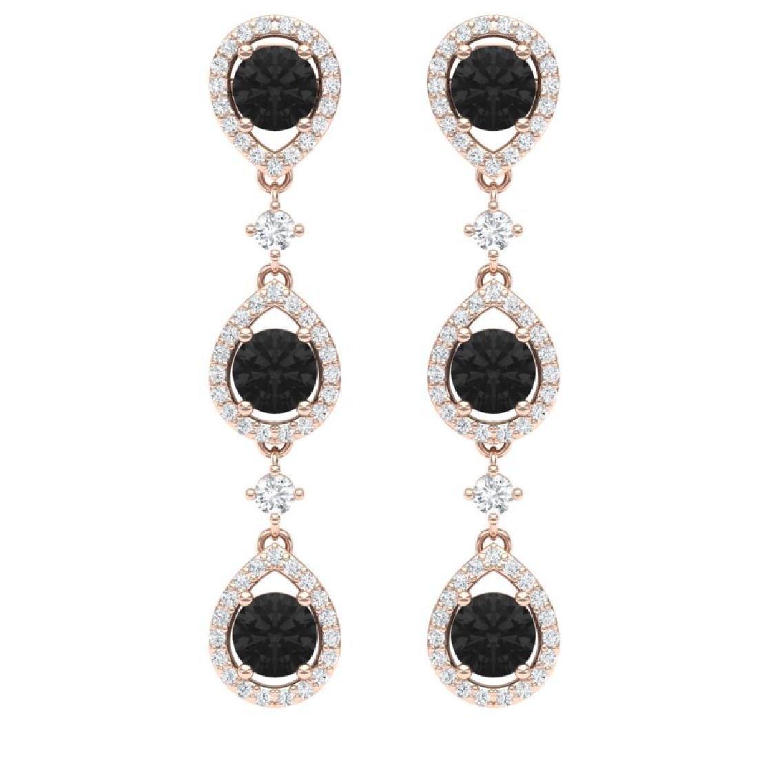4.7 CTW Certified Black VS Diamond Earrings 18K Rose